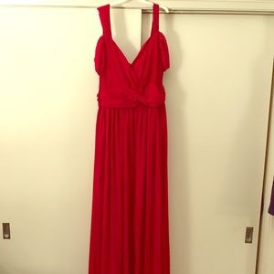 Dresses & Skirts - Long red chiffon dress with slit